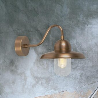 Industrial Aged Brass Wall Lantern