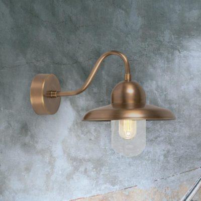 Industrial Aged Brass Wall Lantern