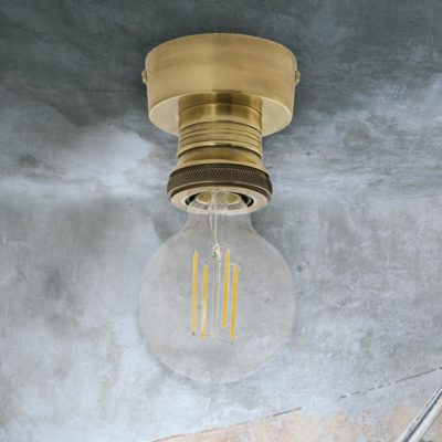 Industrial Antique Brass Flush Light