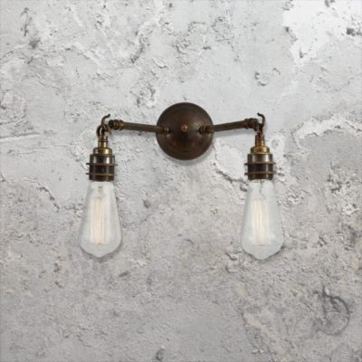 Industrial Antique Brass Wall Light