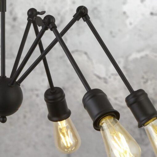 Industrial Black 6 Light Multi Arm Pendant
