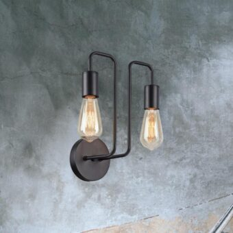 Industrial Black Double Head Wall Light