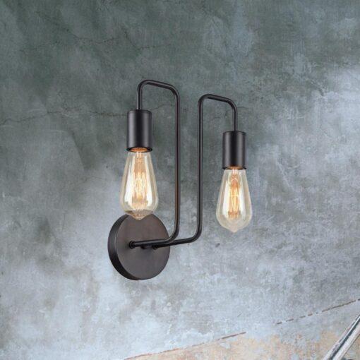 Industrial Black Double Head Wall Light