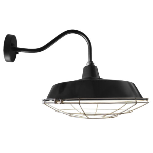 Industrial Black Enamel Cage Wall Light 450mm