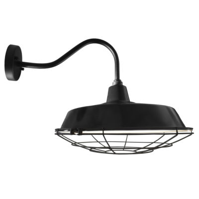 Industrial Black Enamel Cage Wall Light