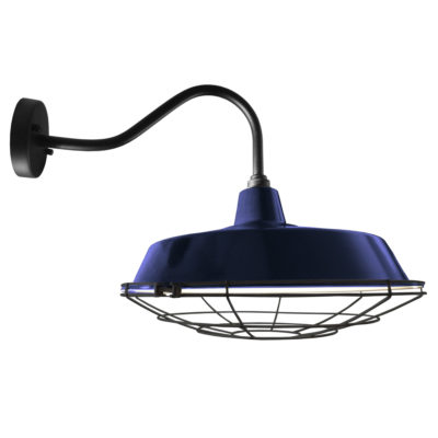 Industrial Blue Enamel Cage Wall Light