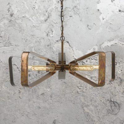 Industrial Burnished Copper Chandelier