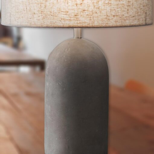 Industrial Concrete Table Lamp with Linen Shade