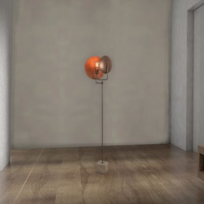 Industrial Copper Dish Floor Lamp