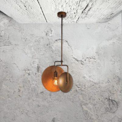 Industrial Copper Dish Pendant Light