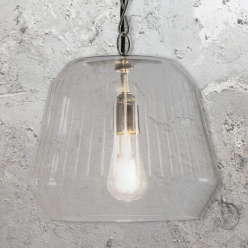 Industrial Etched Glass Pendant Light