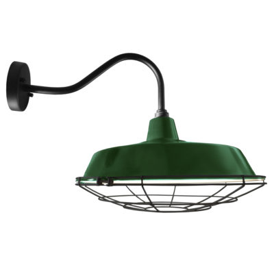 Industrial Green Enamel Cage Wall Light