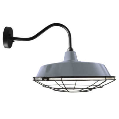 Industrial Grey Enamel Cage Wall Light