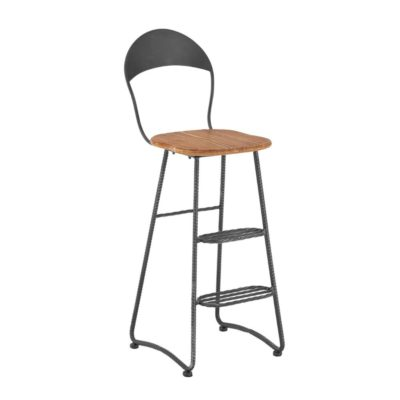 Industrial High Back Bar Stool