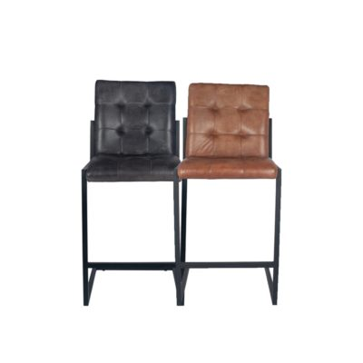 Industrial Leather Iron Bar Stool