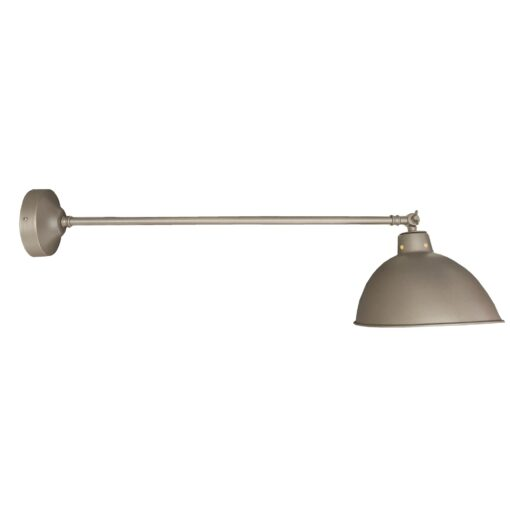 Industrial Nickel Long Arm Wall Light