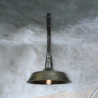 Industrial Pendant Light with Leather Strap