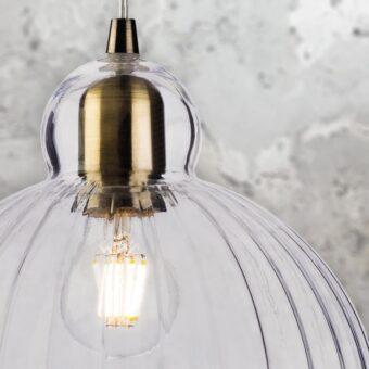 Industrial Ribbed Glass Globe Pendant Light