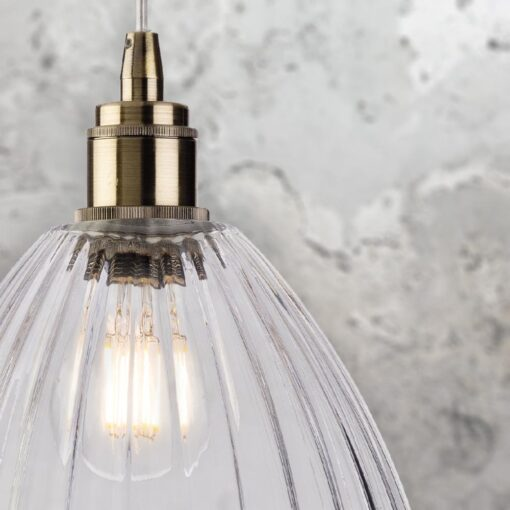Industrial Ribbed Glass Open Pendant Light