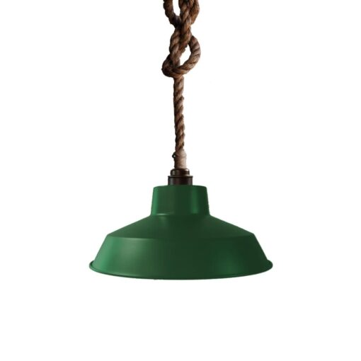 Industrial Rope Pendant Light British Racing Green