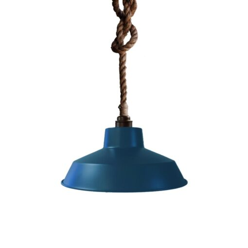 Industrial Rope Pendant Light Navy