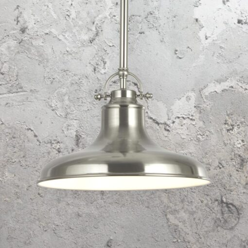 Industrial Satin Silver Pendant Light