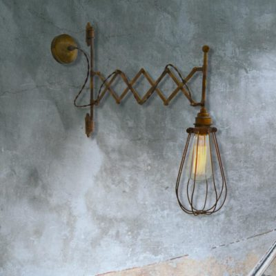 Industrial Scissor Cage Wall Light
