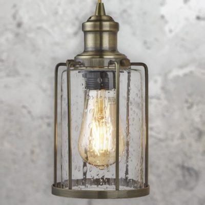 Antique Brass Seeded Glass 4 Light Pendant Bar