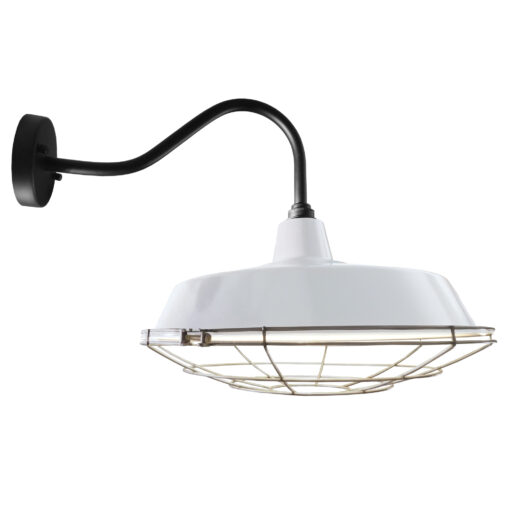 Industrial White Enamel Cage Wall Light