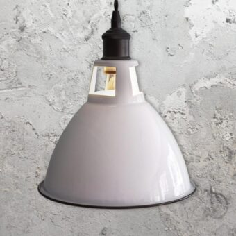 Industrial White Enamel Dome Pendant Light