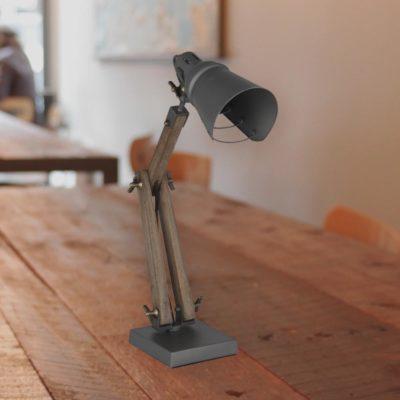 Industrial Wood and Metal Desk Lamp