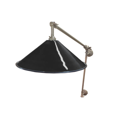 Jet Black Coolie Enamel Wall Light