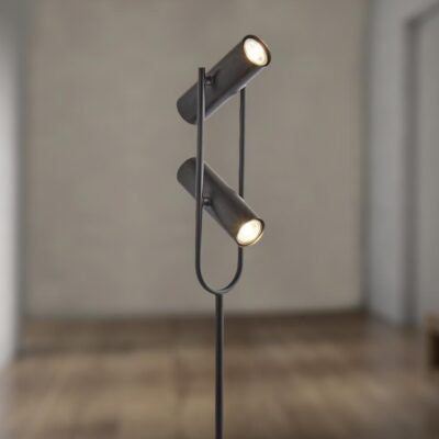 LED 2 Light Black Spotlight Floor Lamp