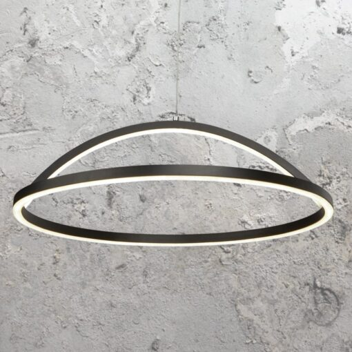 LED Black Curved Ring Pendant Light