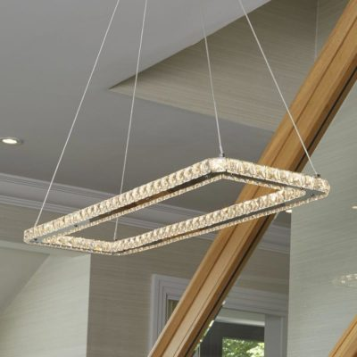 LED Chrome Rectangle Crystal Pendant