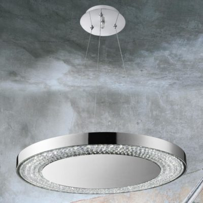 LED Chrome Round Pendant Light