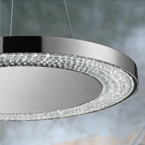 LED Crystals Chrome Round Pendant Light
