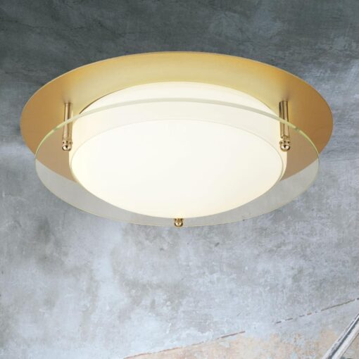 LED Gold Round Glass Flush
