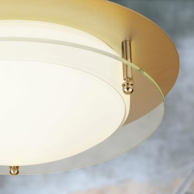 LED Gold Round Ring Glass Flush