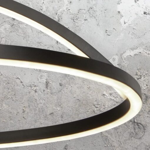 LED Matt Black Curved Ring Pendant Light