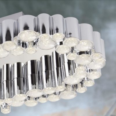LED Polished Chrome Oval Tubes Flush