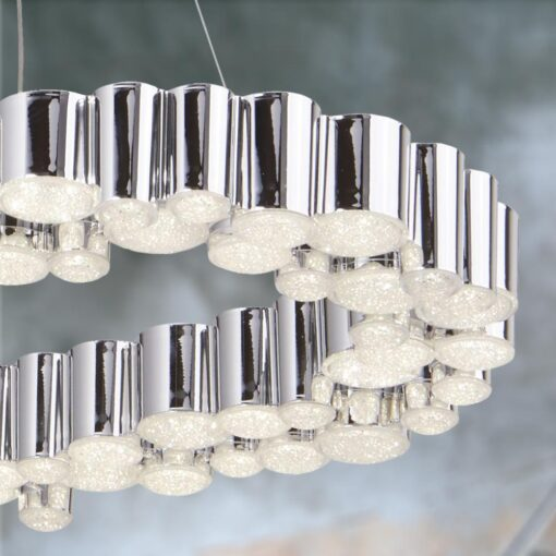 LED Polished Chrome Oval Tubes Pendant