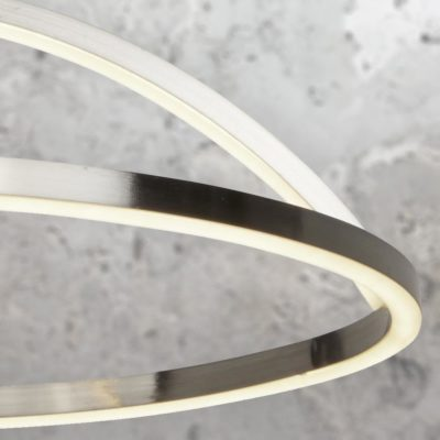 LED Satin Silver Curved Ring Pendant Light
