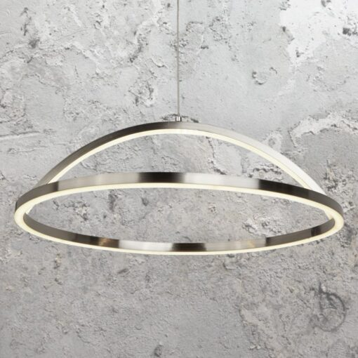 LED Silver Curved Ring Pendant Light