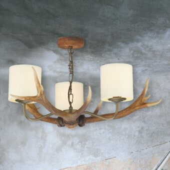 Large 3 Light Cream Shades Antler Chandelier