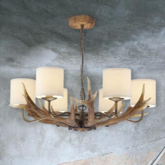 Large 6 Light Cream Shades Antler Chandelier