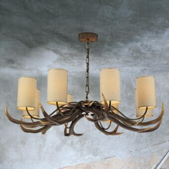 Large 8 Light Cream Shades Antler Chandelier