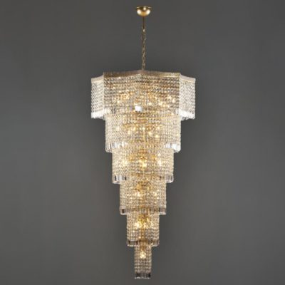 Large Bronze Moroccan Crystal Chandelier