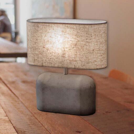 Large Concrete Table Lamp with Linen Shade