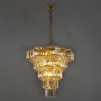 Large Feature Geometric Crystal Chandelier